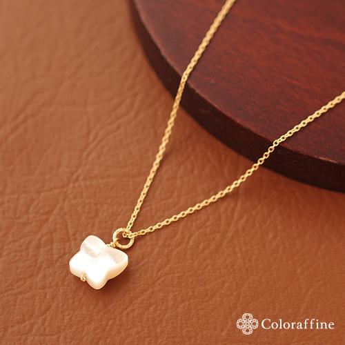 ホワイトシェルバタフライの一粒ネックレス