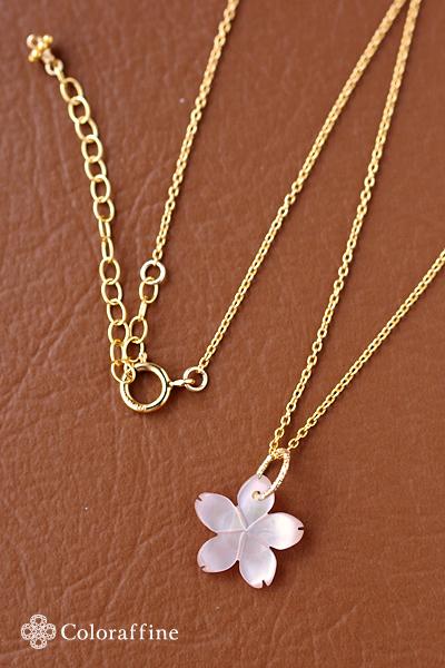 ピンクシェルサクラの一粒ネックレス